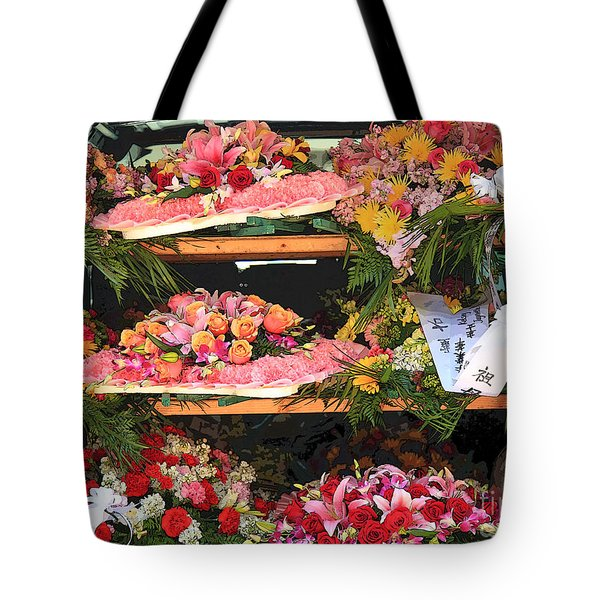 Tote Bag featuring the photograph Flower Stall Ready by Jeanette French