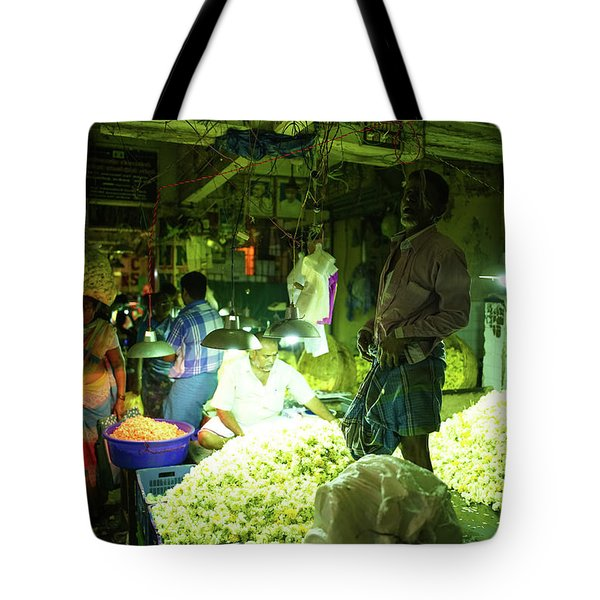 Tote Bag featuring the photograph Flower Stalls Market Chennai India by Mike Reid