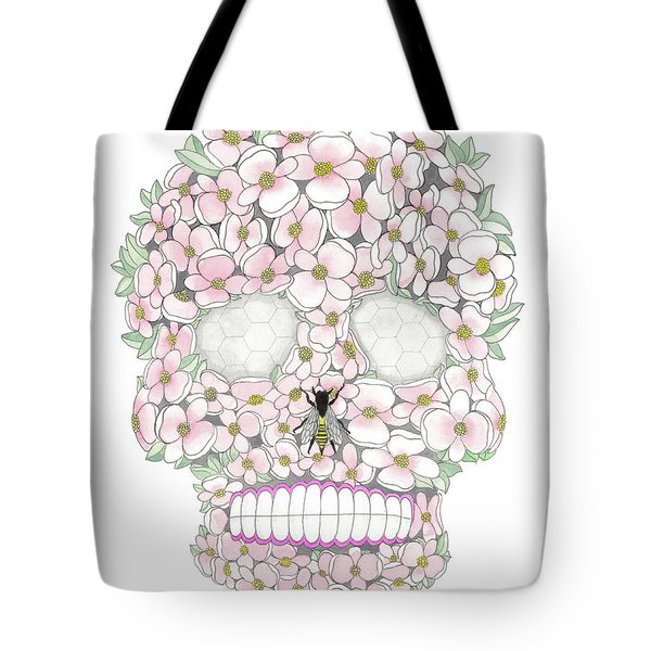 Flower Sugar Skull Tote Bag