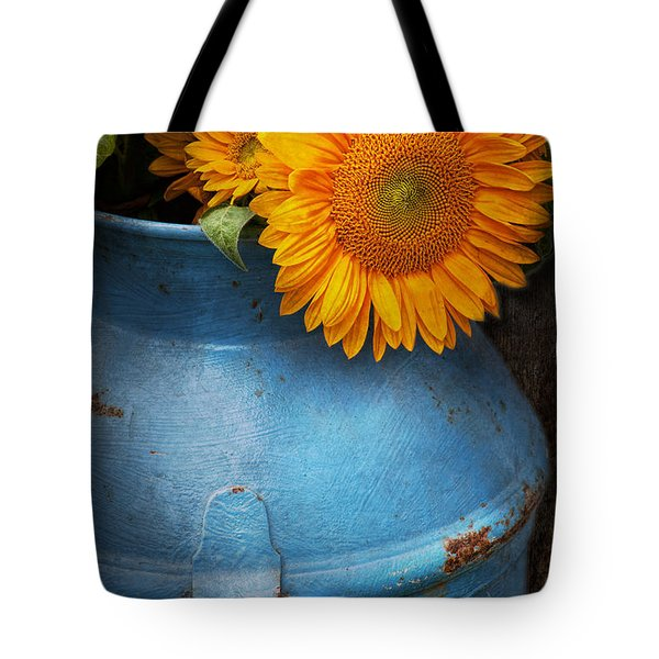 Flower - Sunflower - Little Blue Sunshine  Tote Bag by Mike Savad