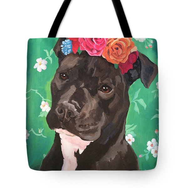Flower The Pitbull Tote Bag by Elisa Bolanos