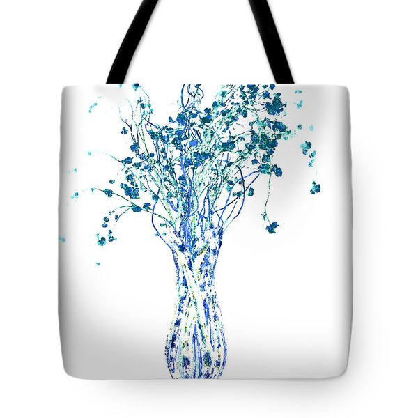 Flower Vase In Blue Tote Bag