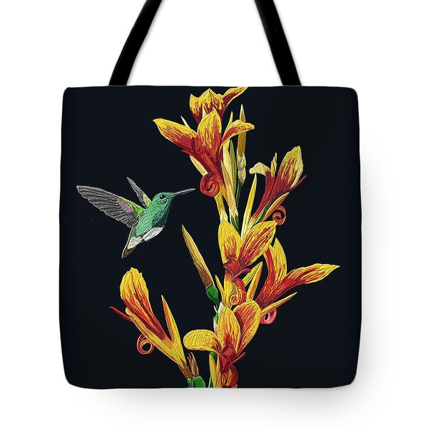 Flower With Bird Tote Bag