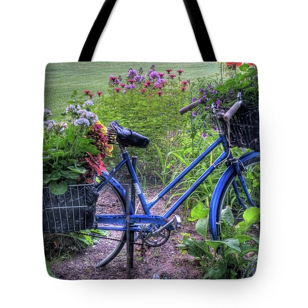 Flowered Bicycle Tote Bag