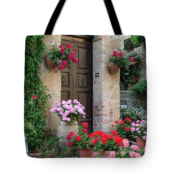 Flowered Montechiello Door Tote Bag