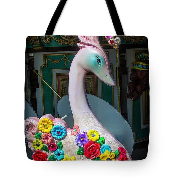 Flowered Swan Tote Bag