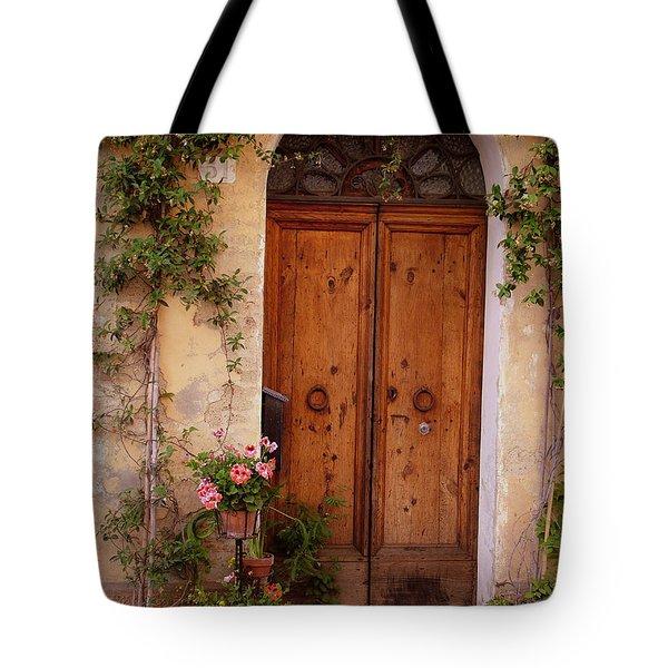 Flowered Tuscan Door Tote Bag