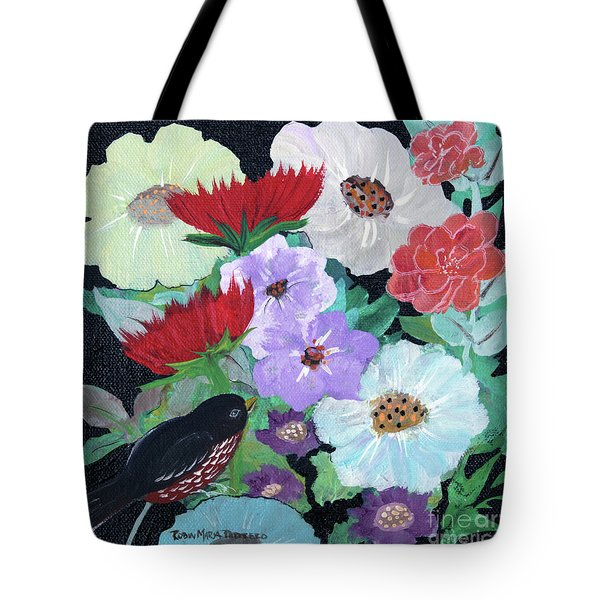 Tote Bag featuring the painting Floweret by Robin Maria Pedrero