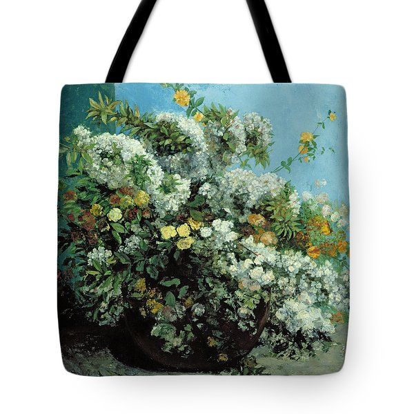 Flowering Branches And Flowers Tote Bag by Gustave Courbet