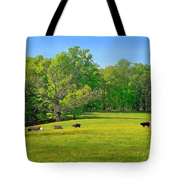 Flowering Cow Pasture Tote Bag