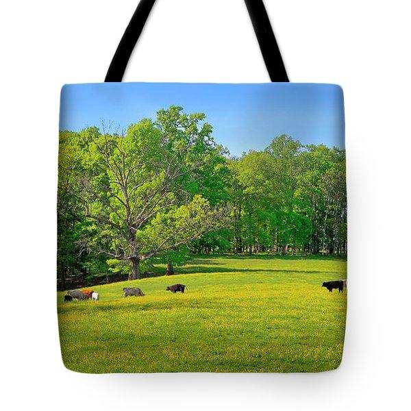 Flowering Cow Pasture Tote Bag