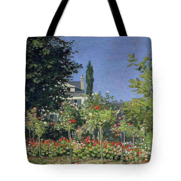 Flowering Garden At Sainte-adresse Tote Bag by Claude Monet