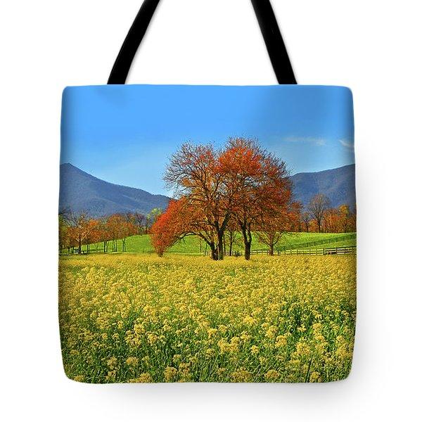 Flowering Meadow, Peaks Of Otter,  Virginia. Tote Bag