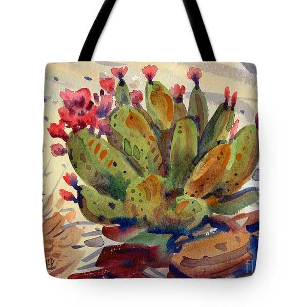 Flowering Opuntia Tote Bag by Donald Maier
