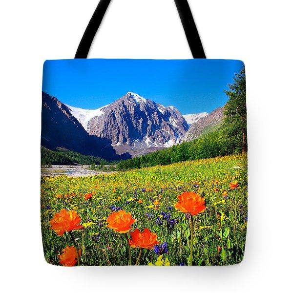 Flowering Valley. Mountain Karatash Tote Bag