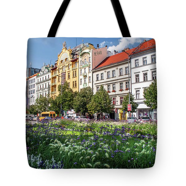 Tote Bag featuring the photograph Flowering Wenceslas Square In Prague by Jenny Rainbow