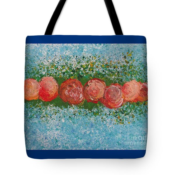 Tote Bag featuring the painting Flowerline In Peach by Corinne Carroll