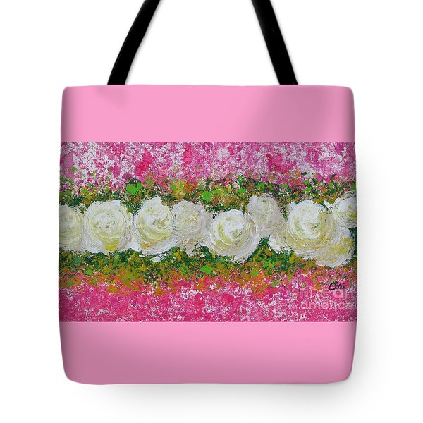 Flowerline In Pink And White Tote Bag