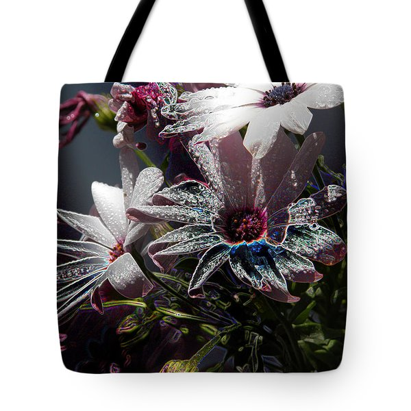 Tote Bag featuring the digital art Flowers by Stuart Turnbull