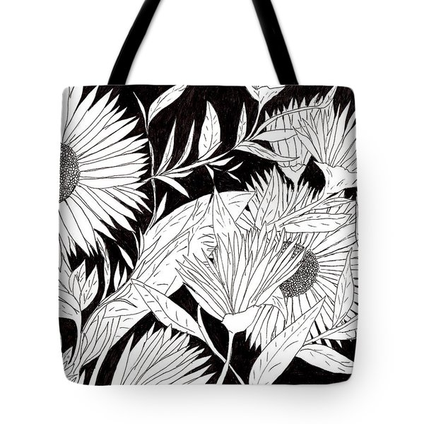 Tote Bag featuring the drawing Flowers 2 by Lou Belcher