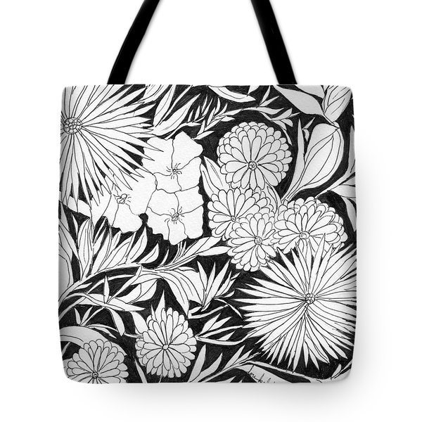 Tote Bag featuring the painting Flowers 3 by Lou Belcher