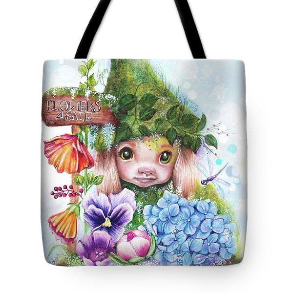 Tote Bag featuring the mixed media Flowers 4 Sale - Garden Whimzies Collection by Sheena Pike