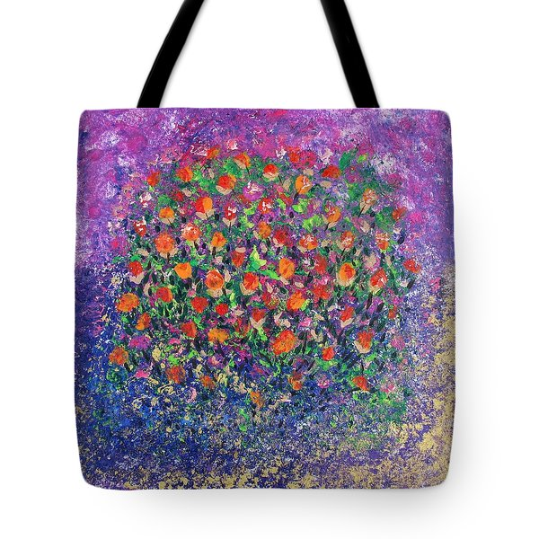 Tote Bag featuring the painting Flowers All Over by Corinne Carroll