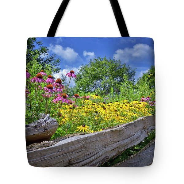 Flowers Along A Wooden Fence Tote Bag