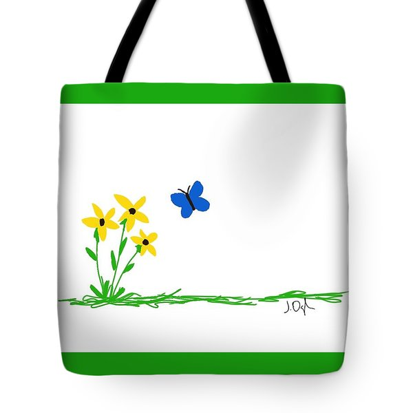 Flowers And A Butterfly Tote Bag