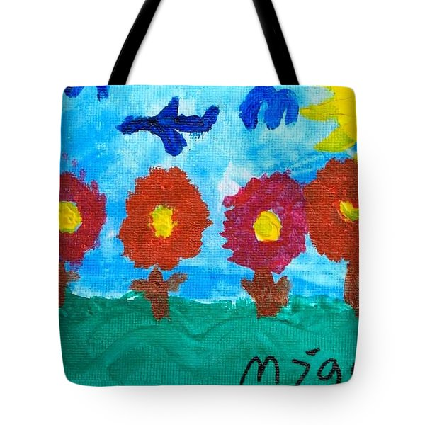 Tote Bag featuring the painting Flowers And Airplane by Artists With Autism Inc