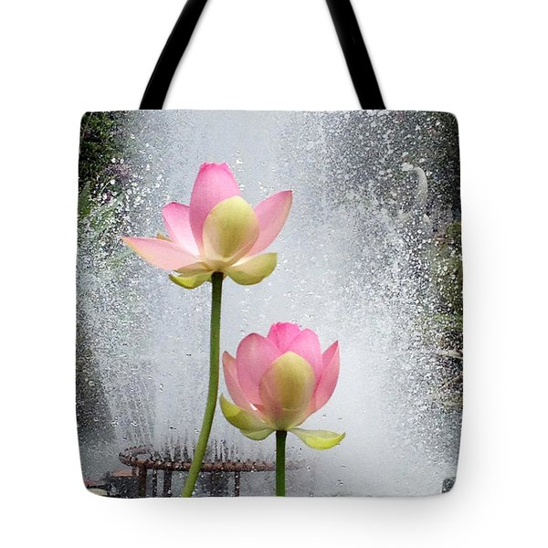 Flowers And Fountains Tote Bag