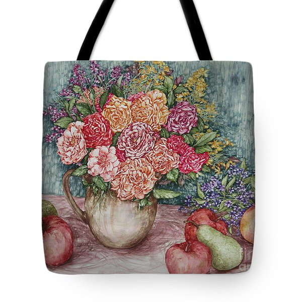 Flowers And Fruit Arrangement Tote Bag