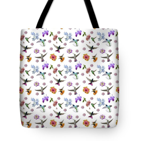 Tote Bag featuring the digital art Flowers And Hummingbirds 1 by Rachel Lee Young