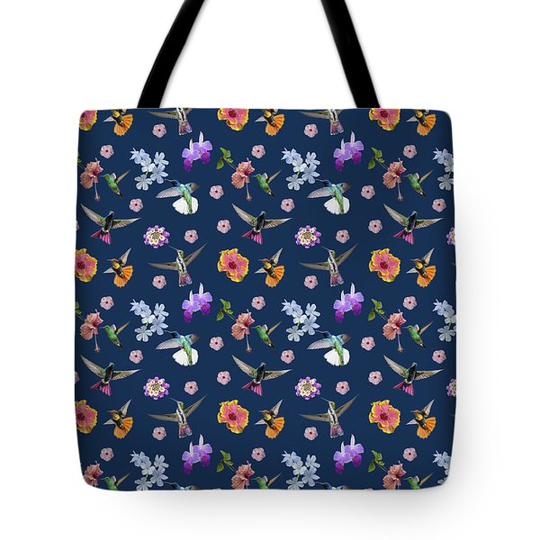 Tote Bag featuring the digital art Flowers And Hummingbirds 2 by Rachel Lee Young