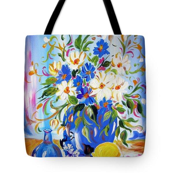 Flowers And Lemon Tote Bag