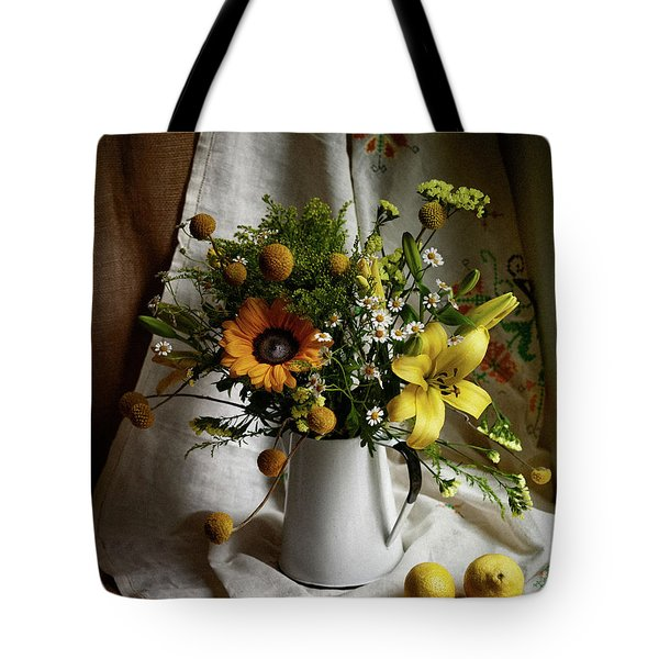 Flowers And Lemons Tote Bag