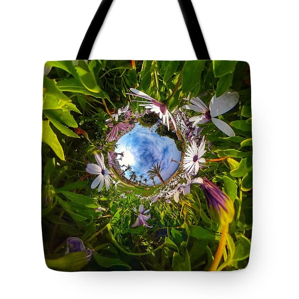 Flowers And Palm Trees Tote Bag