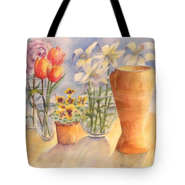 Tote Bag featuring the painting Flowers And Terra Cotta by Debbie Lewis