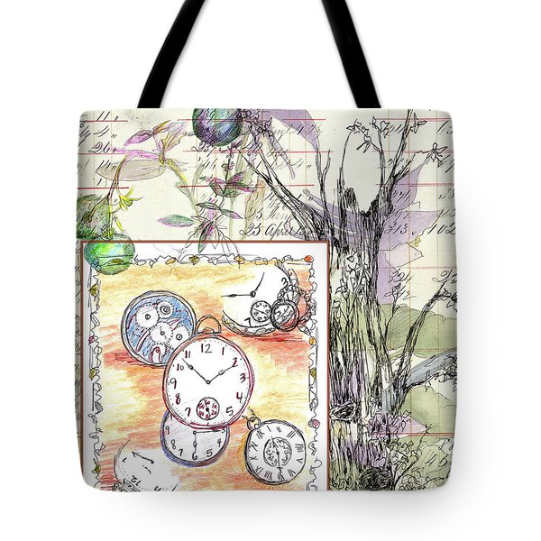 Tote Bag featuring the drawing Flowers And Time by Cathie Richardson