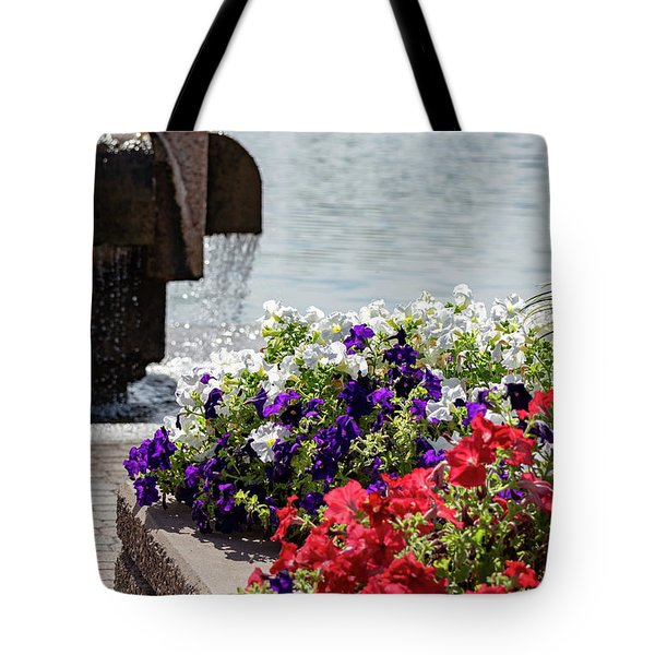 Flowers And Water Tote Bag