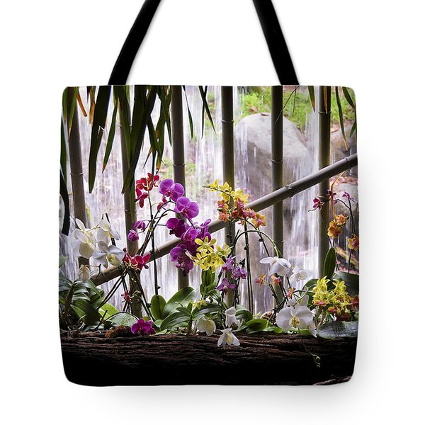 Tote Bag featuring the photograph Flowers And Waterfall by Steven Sparks