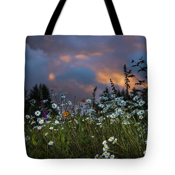 Flowers At Sunset Tote Bag