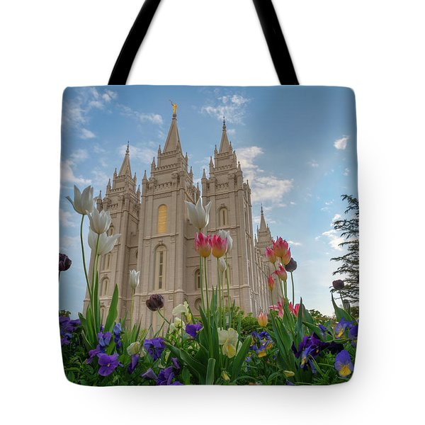 Flowers At Temple Square Tote Bag