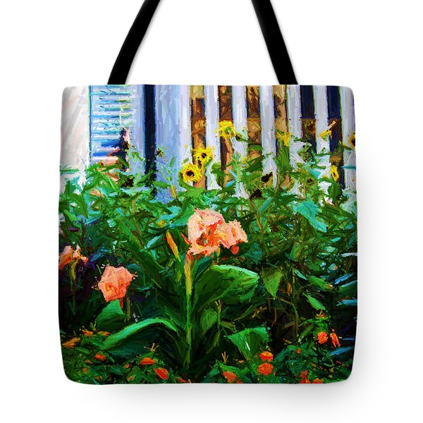 Flowers At The Fountain Of The Plaza Hotel Tote Bag by Randy Aveille