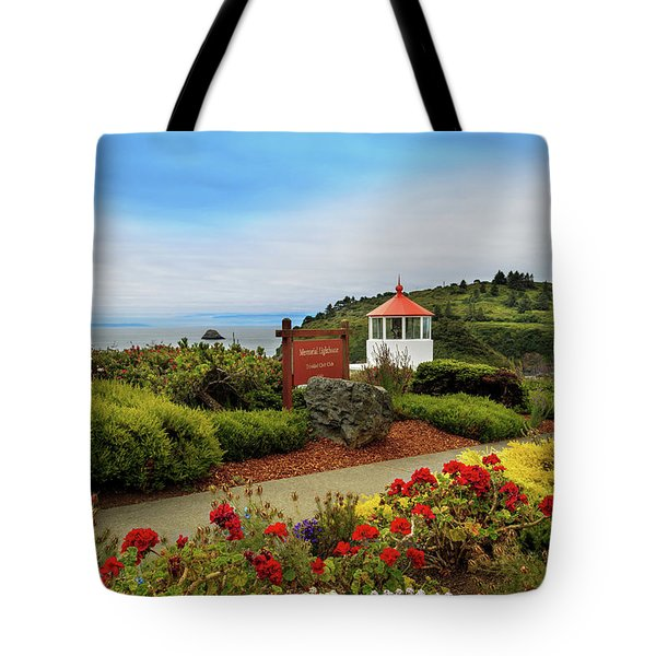 Tote Bag featuring the photograph Flowers At The Trinidad Lighthouse by James Eddy