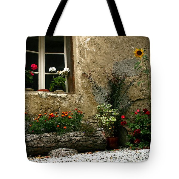 Flowers At Window Tote Bag