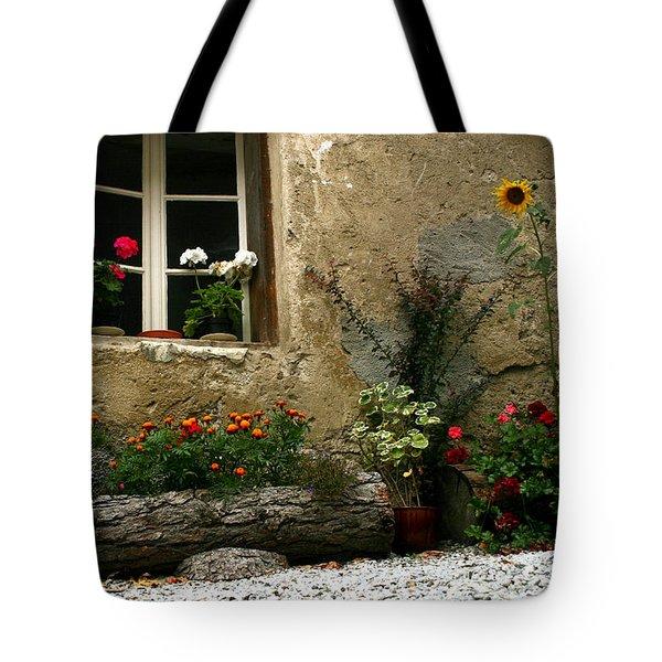 Flowers At Window Tote Bag