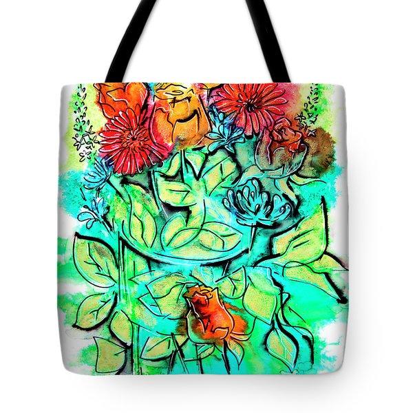 Flowers Bouquet, Illustration Tote Bag