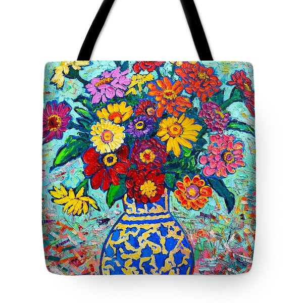 Flowers - Colorful Zinnias Bouquet Tote Bag