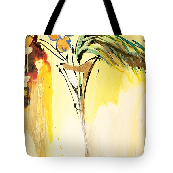 Flowers Flowing In Yellow Tote Bag
